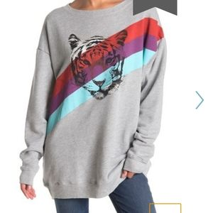 NWT Wildfox Tiger Stripes Oversized Sweatshirt XS